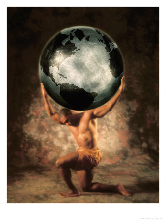 picture of the god atlas holding up the earth to use as a tattoo do know
